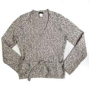 J. CREW Italian Merino Wool V Neck Belted Sweater
